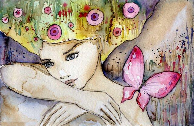 Crtz devojka sa leptirom akvarel