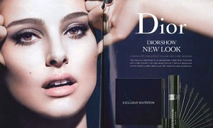 An advert for a Christian Dior mascara featuring actress Natalie Portman which has been banned