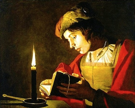 Matthias stomer young man reading by candlelight